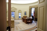 President Barack Obama Talks on the Phone in the Oval Office, Jan. 28, 2009 Print
