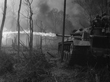 US Marine Flame Tanks Burn 'No-Name Village', Quang Ngai Province, Vietnam, 1969 Photo