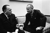 President Lyndon Johnson Meets with Chicago Mayor Richard Daley at the White House. April 21, 1966 Photo