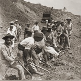 Panamanian Laborers at Work with Shovels During Panama Canal Construction, 1909 Photo