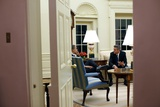 President Obama Meets with Activist Actor George Clooney in the Oval Office, Feb. 23, 2009 Poster