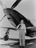 Jacqueline Cochran 1906-1980 American Aviator with F-51 Mustang Airplane, 1948 Posters