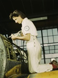 Woman Defense Worker Trainee Riveting at Naval Air Base, in Corpus Christi, 1942 Posters