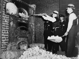 Federal Bureau of Narcotics Agents Shovel Confiscated Heroin Blocks into Incinerator in 1936 Posters