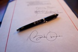 President Obama's Signature on a Bill and a Pen Used For the Signing, Feb. 17, 2009 Posters