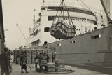 Japanese Longshoremen Loading Bundles of Raw Silk Onto a Freighter, Ca. 1938 Photo