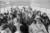 African American and White Children on a School Bus, in Charlotte, Nc, 1973 Posters