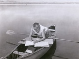 Charles Steinmetz German-American Mathematician Worked in His Canoe, Ca. 1900 Photo