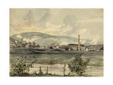Factory on a River in Pennsylvania. 1857 Watercolor by James Fuller Queen Art
