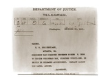 Telegram Ordered the Commutation of Eugene Deb's Jail Sentence for Espionage, 1921 Prints