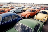 Imported Volkswagen Beetles on an American Pier in 1970s Photo