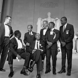1963 March Leaders, L-R: Ahmann, Robinson, Prinz, Randolph, Rauh, Lewis, McKissick Photo