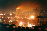 Belgrade on Fire During the Nato Bombing of Yugoslavia, April 21, 1999 Photo