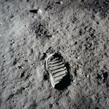 Apollo 11 Boot Print on the Moon. July 20, 1969 Photo
