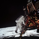 Astronaut Edwin Aldrin, Steps Off the Lunar Module to Moon's Surface, July 20, 1969 Poster