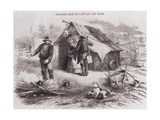 Gold Diggers Hut of Canvas and Bark in the Australian Gold Fields in the 1850s Posters