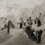 Afro-Caribbean Laborers, Including One Woman, in the Stone Quarries, Jamaica in 1900 Poster