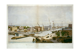Chicago with Street Traffic, Ships, Warehouses and the Rush Street Bridge, 1861 Poster