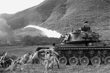 Vietnam War. Us Marine Corps Flame Thrower Tank in Action, Ca. 1966 Poster