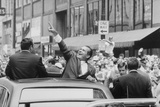 President Nixon Pointing at the Crowd from the Roof of His Car During a Motorcade, Ca. 1969-1974 Photo