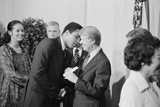 President Jimmy Carter Greets Mohammed Ali at a White House Dinner, Sept. 7, 1978 Print