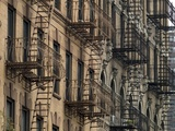 Fire Escapes on Brownstone Apartment Buildings in NYC, Sept. 2007 Photo