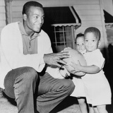 Jim Brown, Football Champion with His Twins, Kevin and Kim. Sept. 27, 1961 Photo