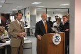 Michael Chertoff, Homeland Security Sec., Reports in Response to Hurricane Katrina Prints
