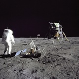 Apollo 11 Astronaut Edwin Aldrin Looks Back at Tranquility Base, July 20, 1969 Poster