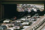 Heavy Rush Hour Traffic of Cleveland Commuters Drive in 1970s Photo