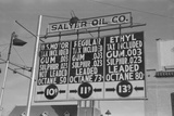 Filling Station Displays the Chemical Analysis and Price Gasoline, Oklahoma, 1940 Photo