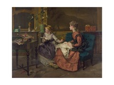 Domestic Scene with Two Girls, One Reading to Another who Sews, 1873 Posters