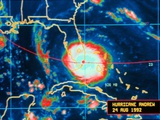 Infrared Image of Hurricane Andrew Crossing the Florida Coast on August 24, 1992 Posters
