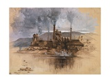 Bethlehem Steel Works in May 1881, Watercolor Painting by Joseph Pennell Posters