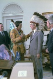 Jimmy Carter Wearing a Feathered Headdress with 'Iron Eyes' Cody , April 21, 1978 Photo
