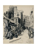 Jewish Neighborhood in Boston Street in Drawing by William Allen Rogers, 1899 Poster