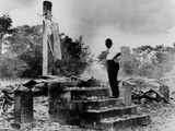 African American Pastor at His Ruined Church, Burned Down by Racists in Sept. 1962 Photo