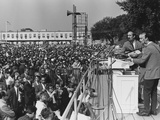 Peter, Paul, and Mary Singing at 1963 Civil Rights March on Washington Photo