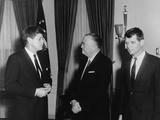 President Kennedy, J. Edgar Hoover, and Robert Kennedy, in White House, Feb. 23, 1961 Photo