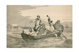 A European Emigrant Family are Rowed to the Anchored Sail Ship, Ca. 1870 Prints