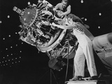 Man and Women Working Together at Douglas Aircraft Plant Long Beach California Ca, 1942 Print