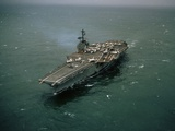 USS Forrestal after Mishandled Explosives Killed 134 Crewmen, August 1967 Photo