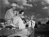 Congressman Lyndon Johnson Campaigning with a Family on a Horse Drawn Wagon in Texas May 31 1941 Prints