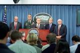 Defense Sec. Donald Rumsfeld Speaks to Press on Sept. 11, 2001 Prints