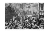German Emigrants for NYC Embarking on a Hamburg Steamer in 1874 Print