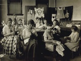 Deaf-Mute Girls Sewing and Darning in a Training School in Sulphur, Oklahoma, April 1917 Print
