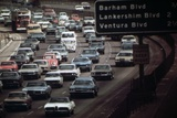 Four Lanes of Traffic on the Hollywood Freeway in Los Angeles in 1970s Photo