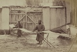 Using Pre-Industrial Methods, Two Men Prepare a Warp For Cotton Cloth in Taskestan Ca. 1870 Photo