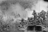 Marines Riding Atop an M-48 Tank as 90mm Gun Fires, Vietnam, April 1968 Photo