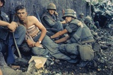 Medic Treats a US Marine's Wounds During Operation Hue City, Tet Offensive, Feb. 1969 Photo